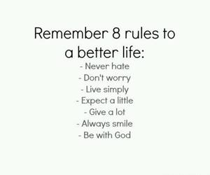 life, quote, and rules image