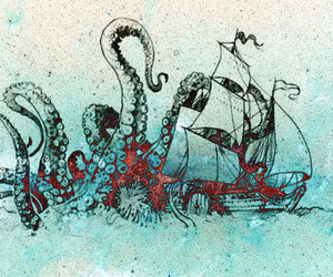 octopus, art, and ship image