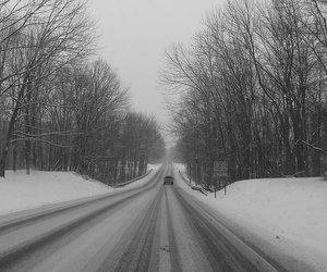 black and white, winter, and road image