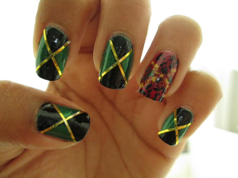 Jamaican Flag Nail Art shared by Jahnuary † on We Heart It