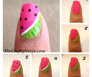 nails, watermelon, and tutorial image