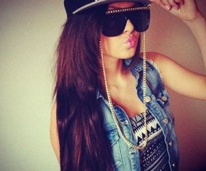 brunette, tribal, and denim vest image