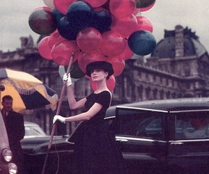 audrey hepburn, balloons, and vintage image