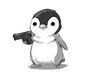 penguin, gun, and book image