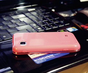 pink, phone, and samsung image