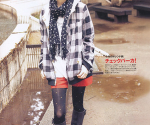 boots, japanese, and scarf image