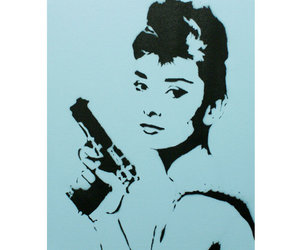 street art, audrey hepburn, and graffiti image
