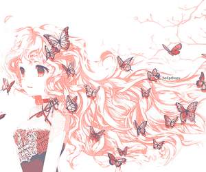 blond hair, butterfly, and shojo image
