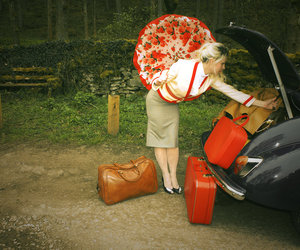 red, vintage, and suitcase image