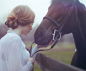 girl, horse, and pretty image