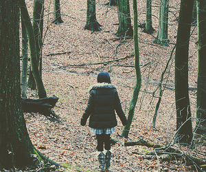 forest, girl, and leaves image