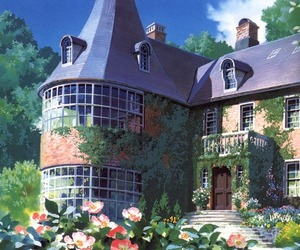 anime, house, and flowers image