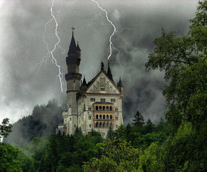 castle, germany, and lightning image