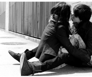 black and white, love, and kiss image