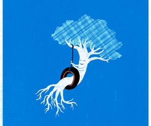 tree, blue, and illustration image