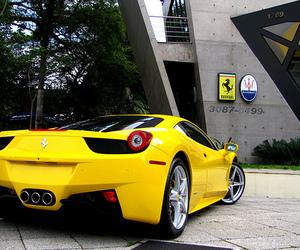 car, yellow, and ferrari image