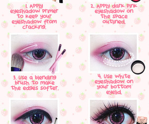 pink, makeup, and tutorial image