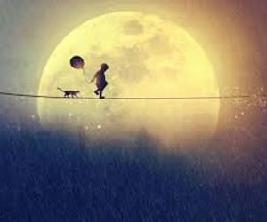 cat, child, and moon image