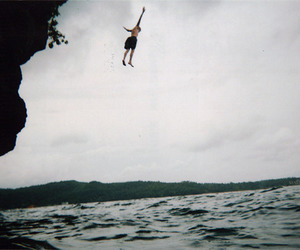 boy, jump, and water image