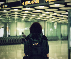 airport, girl, and trip to barcelona image