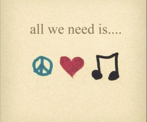 music, peace & love, and quote image