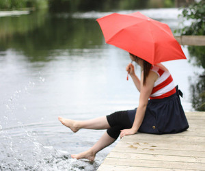 girl, red, and umbrella image