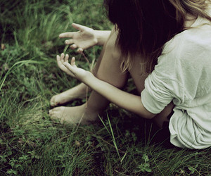 girl, grass, and hands image