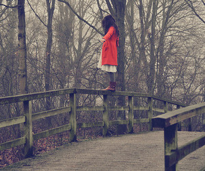 girl, red, and bridge image