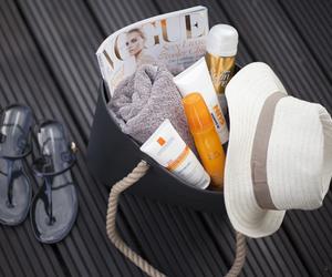 beach, magazine, and straw hat image