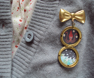 bow, brooches, and cardigan image