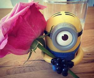 minions, rose, and flowers image