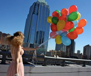 balloons, girl, and fashion image
