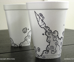 art, coffee cup, and hare image
