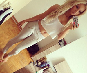 girl, blond, and body image