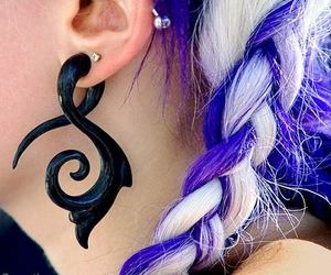 hair, piercing, and Plugs image