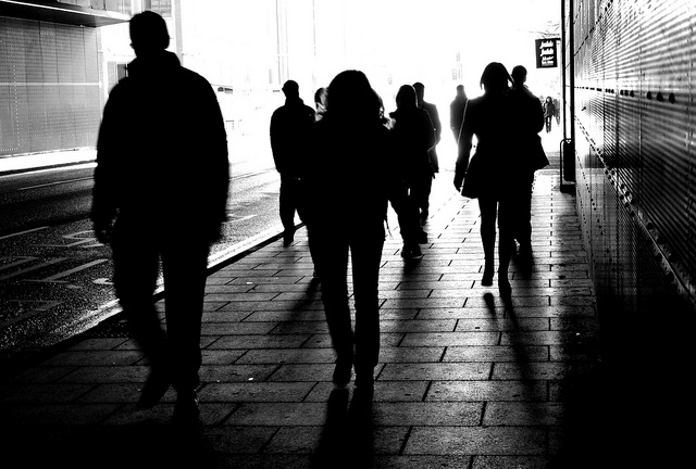 black and white, people, and silhouettes image