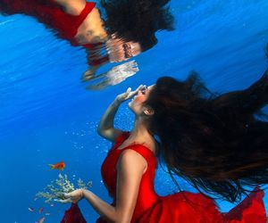 underwater, dress, and red image