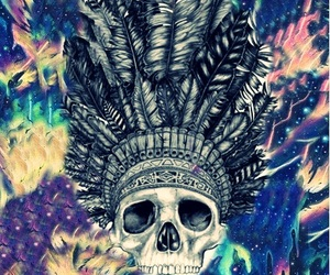 skull, colors, and trippy image