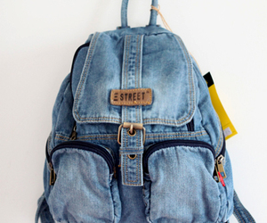 backpack, blue, and denim image