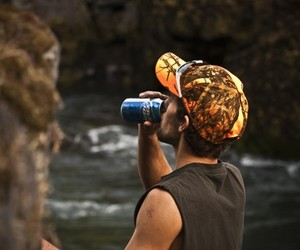 beer, camo, and river image