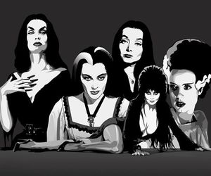 addams, black and white, and elvira image