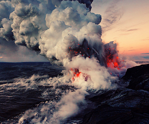 nature, volcano, and ocean image