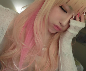 hair, pink, and asian image
