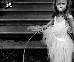 girl, bubble, and black and white image