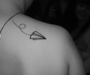 airplane, paper airplane, and tattoo image