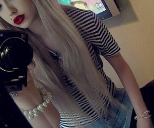 girl, blonde, and red lips image