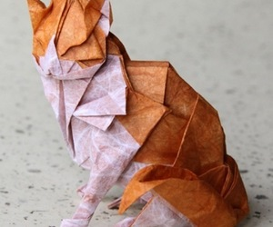 cat, origami, and Paper image