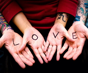 love, hands, and tattoo image