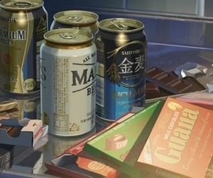 anime, chocolate, and beer image