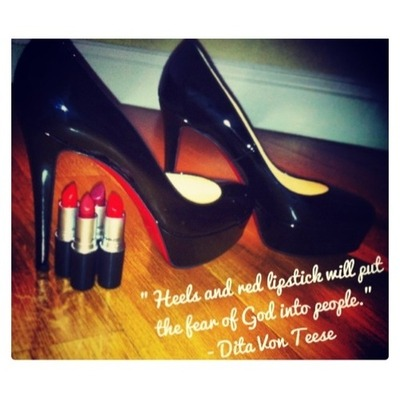 girl heels make up red lipstick quotes   via Tumblr